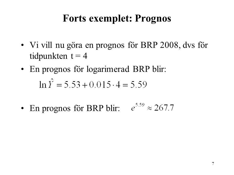 7 Forts exemplet: Prognos Vi vill nu göra en prognos för BRP 2008, dvs för tidpunkten t = 4 En prognos för logarimerad BRP blir: En prognos för BRP blir: