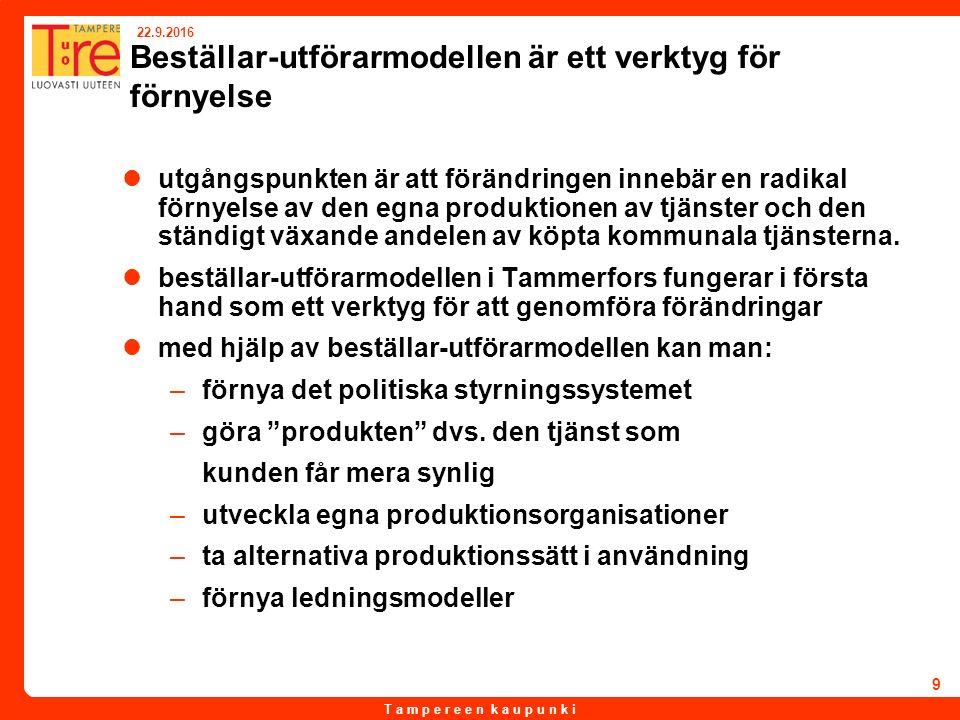 T a m p e r e e n k a u p u n k i 22.9.2016 10 Beställar-utförarmodellen 2007 i Tammerfors