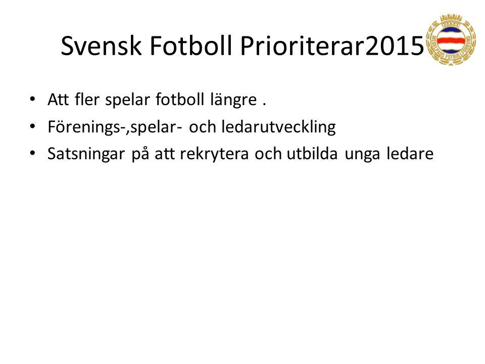 Svensk Fotboll Prioriterar2015 Att fler spelar fotboll längre.