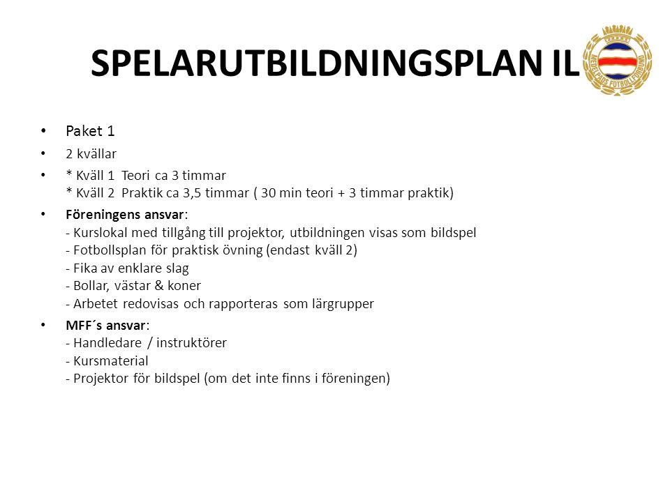 SPELARUTBILDNINGSPLAN IL Paket 1 2 kvällar * Kväll 1 Teori ca 3 timmar * Kväll 2 Praktik ca 3,5 timmar ( 30 min teori + 3 timmar praktik) Föreningens ansvar: - Kurslokal med tillgång till projektor, utbildningen visas som bildspel - Fotbollsplan för praktisk övning (endast kväll 2) - Fika av enklare slag - Bollar, västar & koner - Arbetet redovisas och rapporteras som lärgrupper MFF´s ansvar: - Handledare / instruktörer - Kursmaterial - Projektor för bildspel (om det inte finns i föreningen)