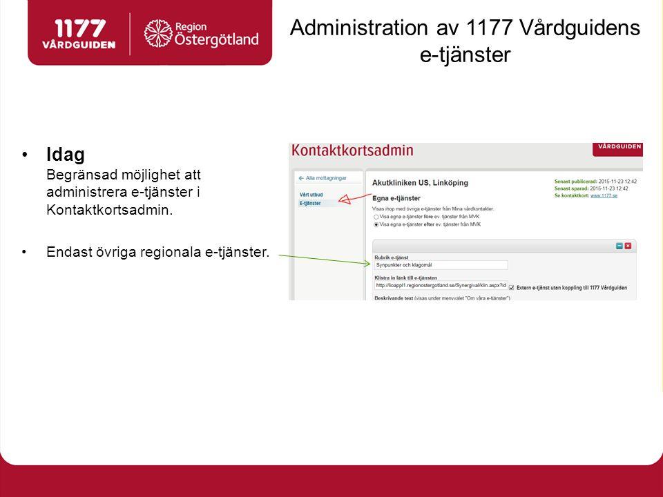 Administration av 1177 Vårdguidens e-tjänster Idag Begränsad möjlighet att administrera e-tjänster i Kontaktkortsadmin.