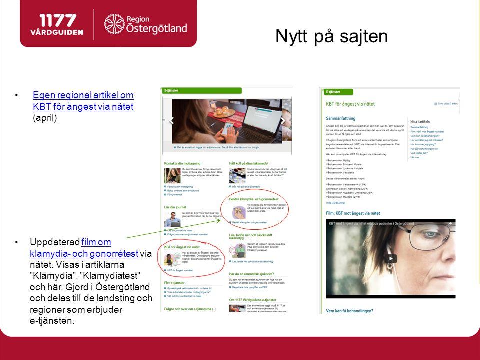 Nytt på sajten Egen regional artikel om KBT för ångest via nätet (april)Egen regional artikel om KBT för ångest via nätet Uppdaterad film om klamydia- och gonorrétest via nätet.