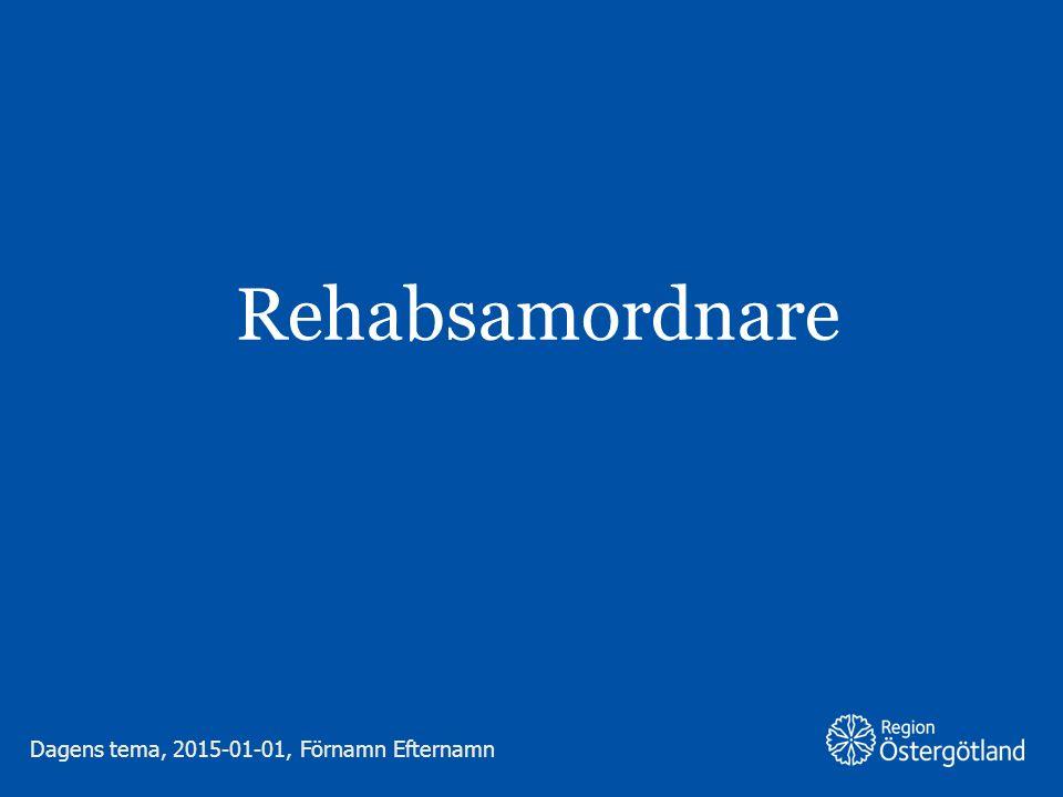 Region Östergötland Runt 1 miljon svenskar i arbetsför ålder lider av någon form av psykisk ohälsa Vanligaste orsaken till sjukskrivning – runt 40 % av sjukskrivningskostnaderna En tredubbling av psykisk ohälsa bland unga i åldern 16-24 år under de senaste 20 åren Varför Rehabsamordnare (RS) Dagens tema, 2015-01-01, Förnamn Efternamn 2