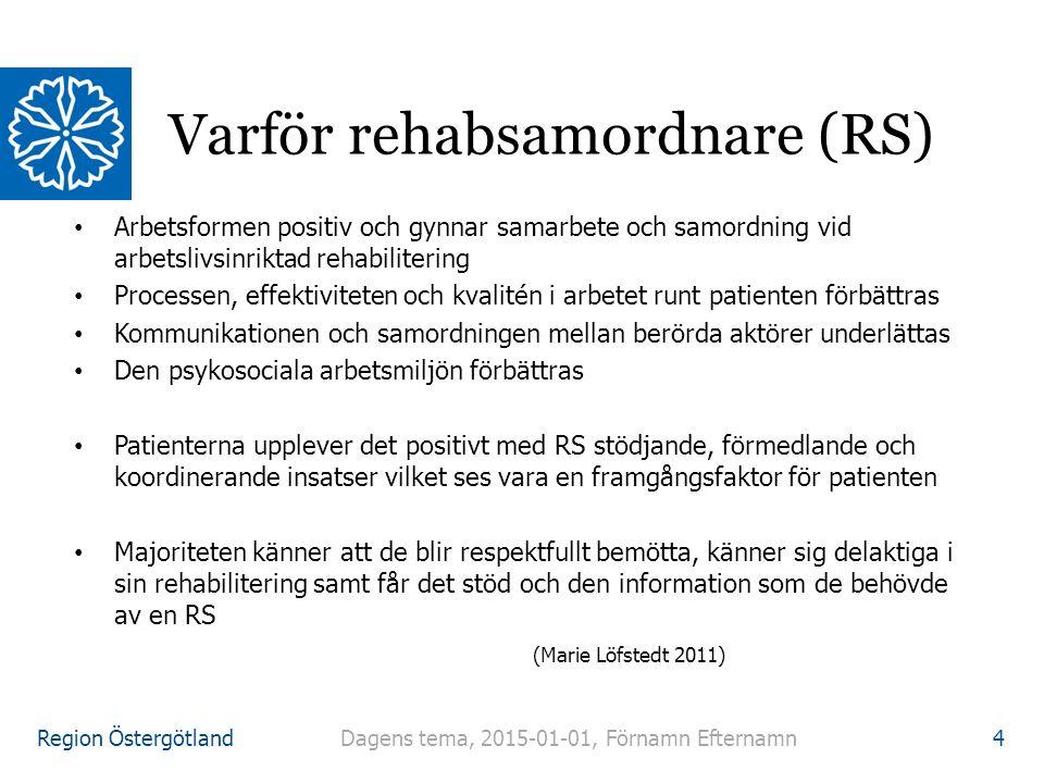 Region Östergötland Arbetsformen positiv och gynnar samarbete och samordning vid arbetslivsinriktad rehabilitering Processen, effektiviteten och kvalitén i arbetet runt patienten förbättras Kommunikationen och samordningen mellan berörda aktörer underlättas Den psykosociala arbetsmiljön förbättras Patienterna upplever det positivt med RS stödjande, förmedlande och koordinerande insatser vilket ses vara en framgångsfaktor för patienten Majoriteten känner att de blir respektfullt bemötta, känner sig delaktiga i sin rehabilitering samt får det stöd och den information som de behövde av en RS (Marie Löfstedt 2011) Varför rehabsamordnare (RS) Dagens tema, 2015-01-01, Förnamn Efternamn 4