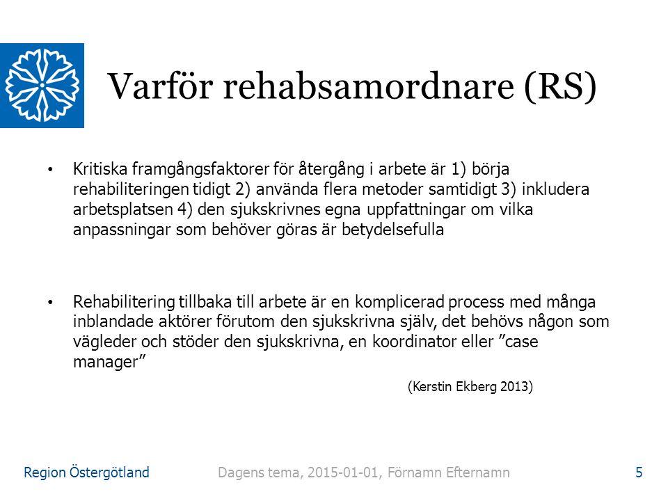 Region Östergötland Dagens tema, 2015-01-01, Förnamn Efternamn 6 REHABSTEGEN: Beskrivning av arbetsuppgifter som vanligen ingår i koordinatoruppdraget enligt enkäter och intervjuer med koordinatorer – (REKOORD-projektet) 1.