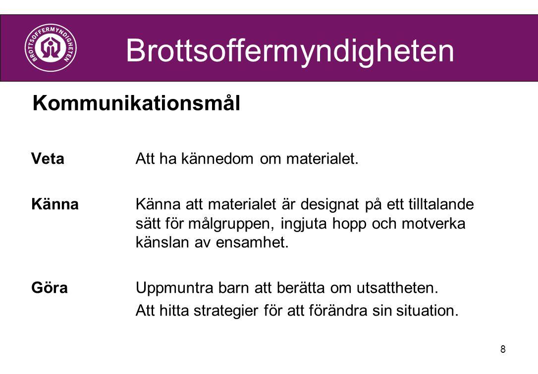 Brottsoffermyndigheten Kommunikationsmål VetaAtt ha kännedom om materialet. KännaKänna att materialet är designat på ett tilltalande sätt för målgrupp