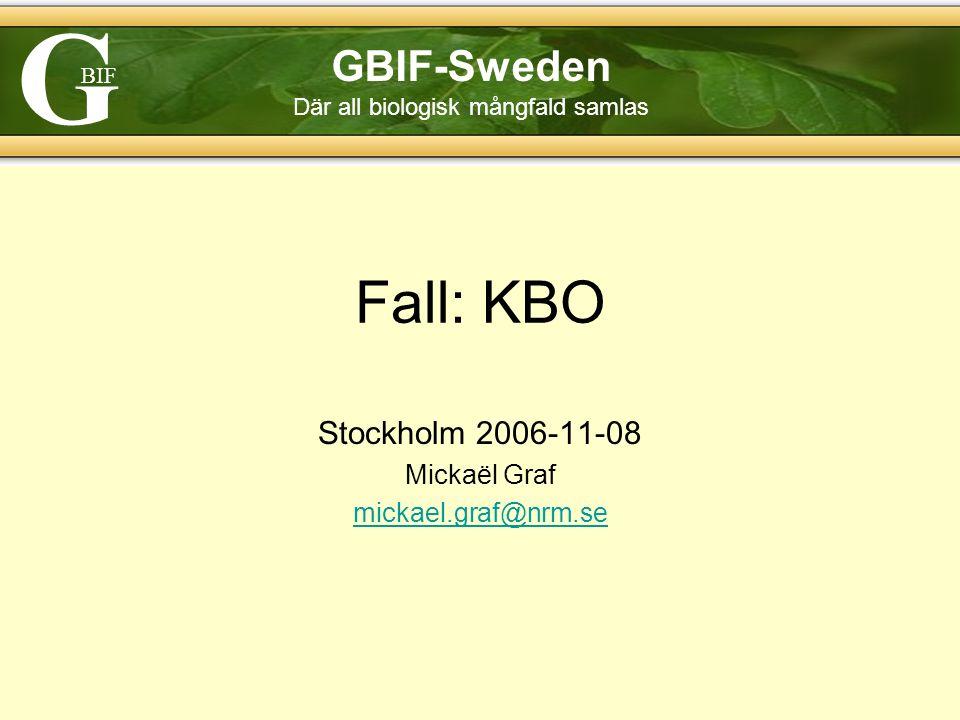 G BIF GBIF-Sweden Där all biologisk mångfald samlas Fall: KBO Stockholm 2006-11-08 Mickaël Graf mickael.graf@nrm.se