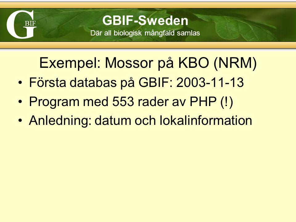 G BIF GBIF-Sweden Där all biologisk mångfald samlas Exempel: Mossor på KBO (NRM) Första databas på GBIF: 2003-11-13 Program med 553 rader av PHP (!) Anledning: datum och lokalinformation