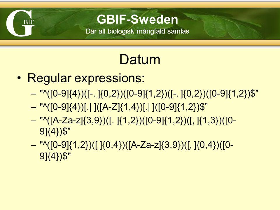 G BIF GBIF-Sweden Där all biologisk mångfald samlas Datum Regular expressions: – ^([0-9]{4})([-.