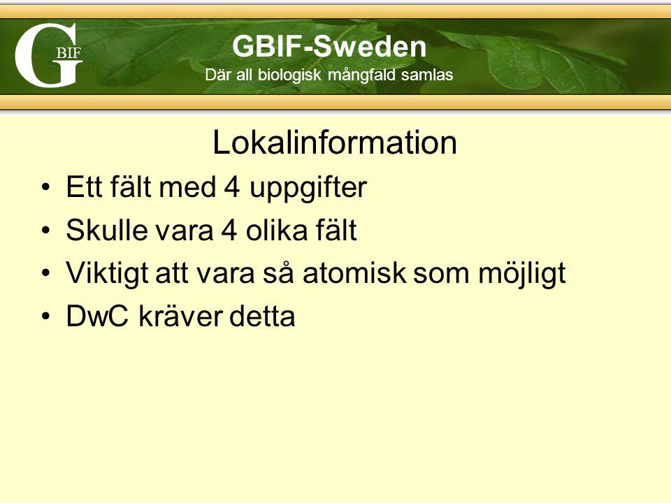 G BIF GBIF-Sweden Där all biologisk mångfald samlas Lokalinformation Ett fält med 4 uppgifter Skulle vara 4 olika fält Viktigt att vara så atomisk som möjligt DwC kräver detta