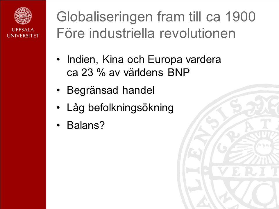 Globaliseringen fram till ca 1900 Före industriella revolutionen Indien, Kina och Europa vardera ca 23 % av världens BNP Begränsad handel Låg befolkningsökning Balans