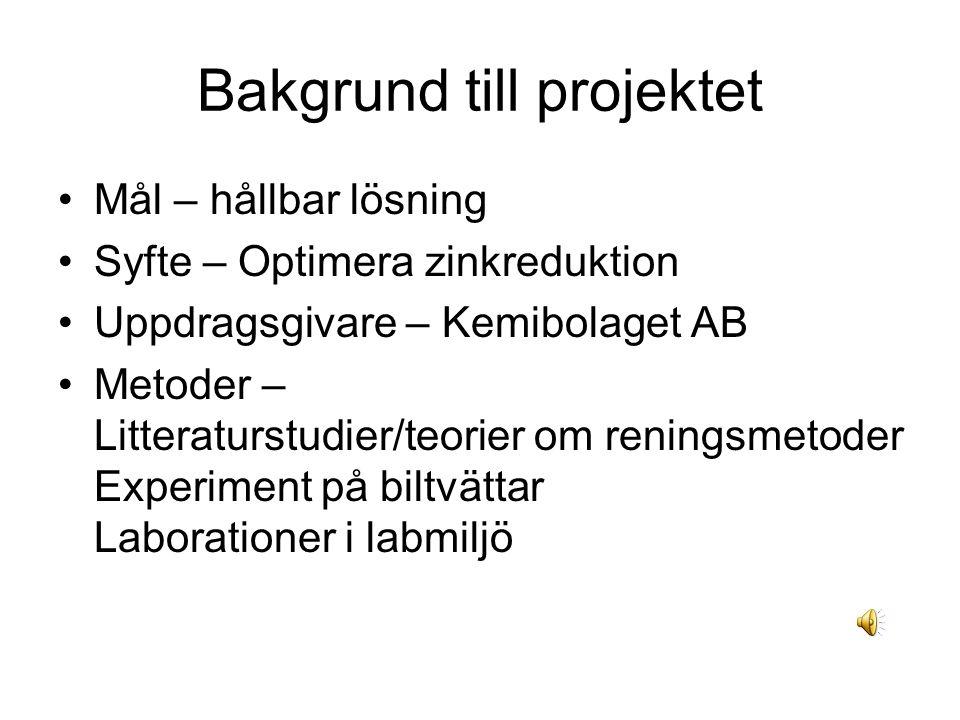 Bakgrund till projektet Mål – hållbar lösning Syfte – Optimera zinkreduktion Uppdragsgivare – Kemibolaget AB Metoder – Litteraturstudier/teorier om reningsmetoder Experiment på biltvättar Laborationer i labmiljö