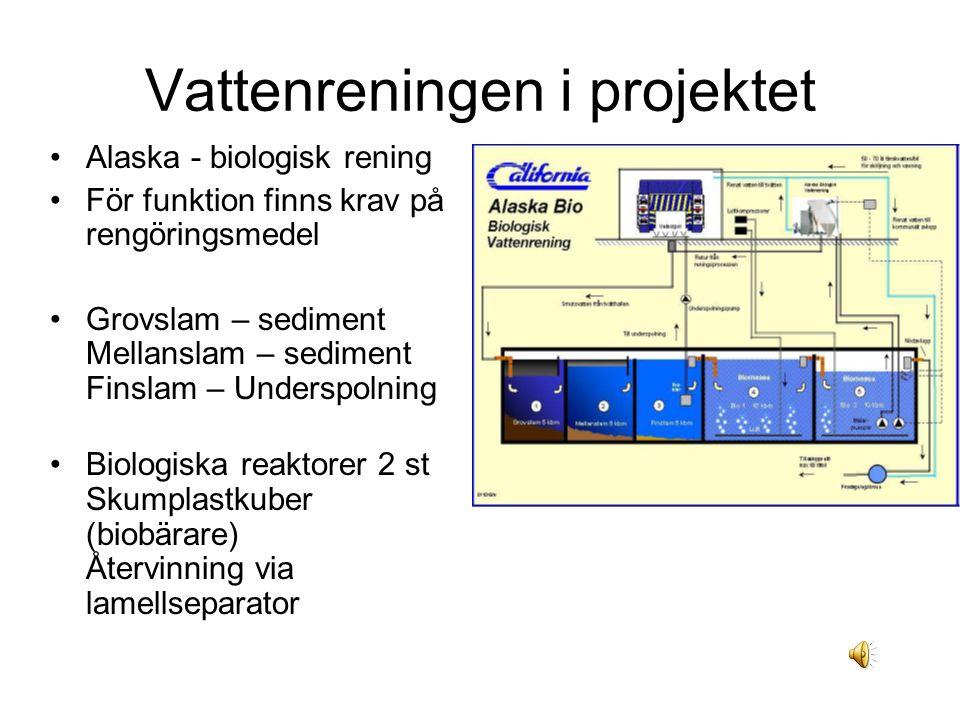 Vattenreningen i projektet Alaska - biologisk rening För funktion finns krav på rengöringsmedel Grovslam – sediment Mellanslam – sediment Finslam – Underspolning Biologiska reaktorer 2 st Skumplastkuber (biobärare) Återvinning via lamellseparator