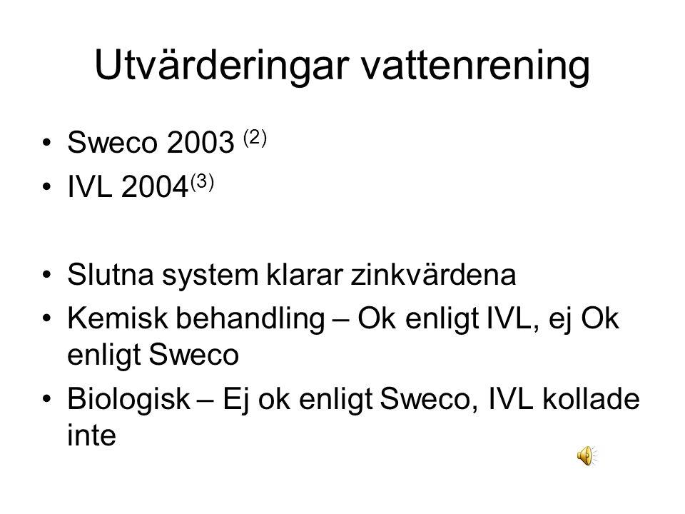 Utvärderingar vattenrening Sweco 2003 (2) IVL 2004 (3) Slutna system klarar zinkvärdena Kemisk behandling – Ok enligt IVL, ej Ok enligt Sweco Biologisk – Ej ok enligt Sweco, IVL kollade inte