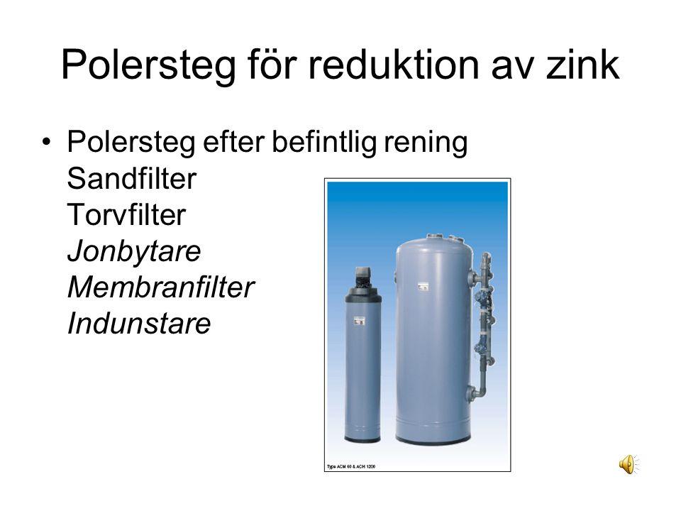 Polersteg för reduktion av zink Polersteg efter befintlig rening Sandfilter Torvfilter Jonbytare Membranfilter Indunstare