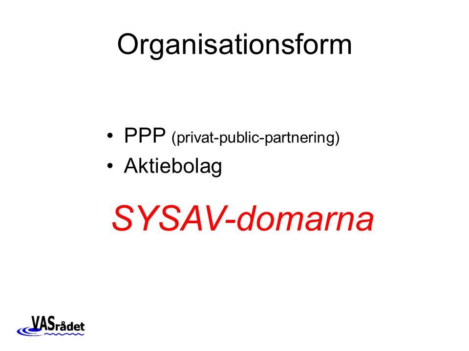 Organisationsform PPP (privat-public-partnering) Aktiebolag SYSAV-domarna