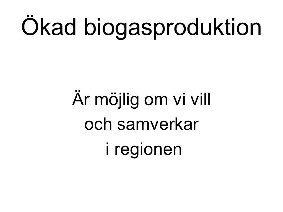 Ökad biogasproduktion Är möjlig om vi vill och samverkar i regionen