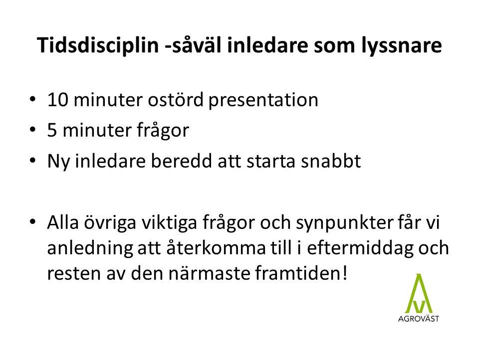 Tidsdisciplin -såväl inledare som lyssnare 10 minuter ostörd presentation 5 minuter frågor Ny inledare beredd att starta snabbt Alla övriga viktiga fr