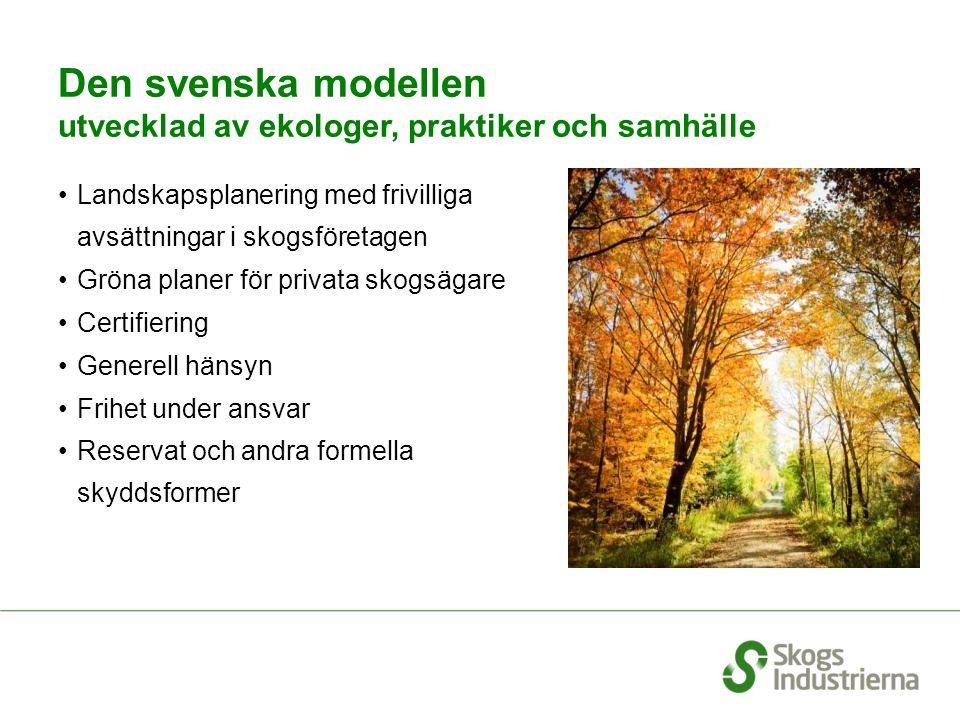 Den svenska modellen utvecklad av ekologer, praktiker och samhälle Landskapsplanering med frivilliga avsättningar i skogsföretagen Gröna planer för pr