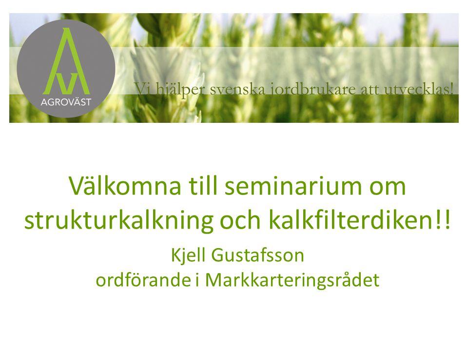 Välkomna till seminarium om strukturkalkning och kalkfilterdiken!! Kjell Gustafsson ordförande i Markkarteringsrådet