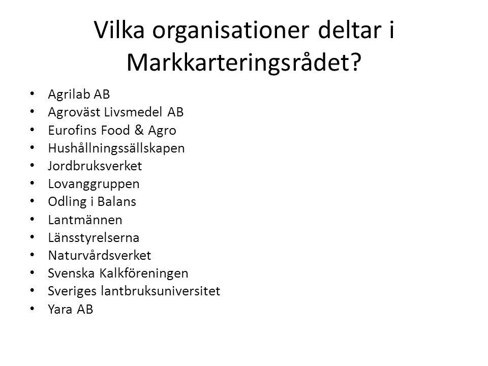 Vilka organisationer deltar i Markkarteringsrådet? Agrilab AB Agroväst Livsmedel AB Eurofins Food & Agro Hushållningssällskapen Jordbruksverket Lovang