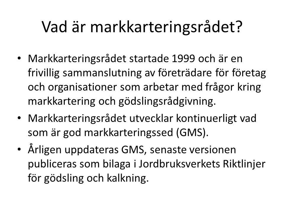 Vad är markkarteringsrådet? Markkarteringsrådet startade 1999 och är en frivillig sammanslutning av företrädare för företag och organisationer som arb