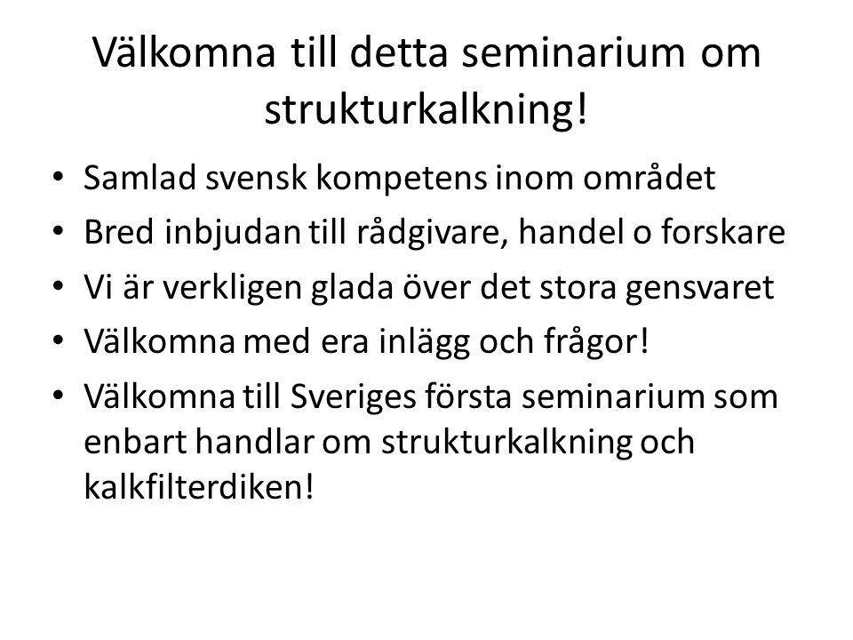 Välkomna till detta seminarium om strukturkalkning! Samlad svensk kompetens inom området Bred inbjudan till rådgivare, handel o forskare Vi är verklig