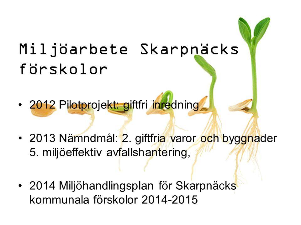 Miljöarbete Skarpnäcks förskolor 2012 Pilotprojekt: giftfri inredning 2013 Nämndmål: 2. giftfria varor och byggnader 5. miljöeffektiv avfallshantering