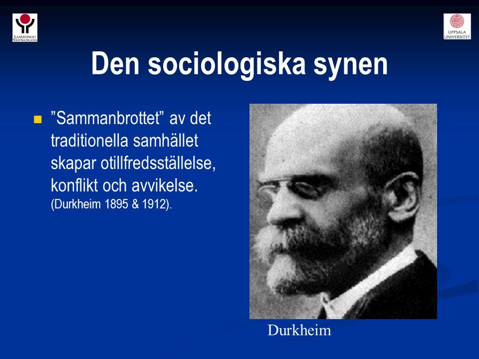 """""""Sammanbrottet"""" av det traditionella samhället skapar otillfredsställelse, konflikt och avvikelse. (Durkheim 1895 & 1912). Durkheim Den sociologiska s"""