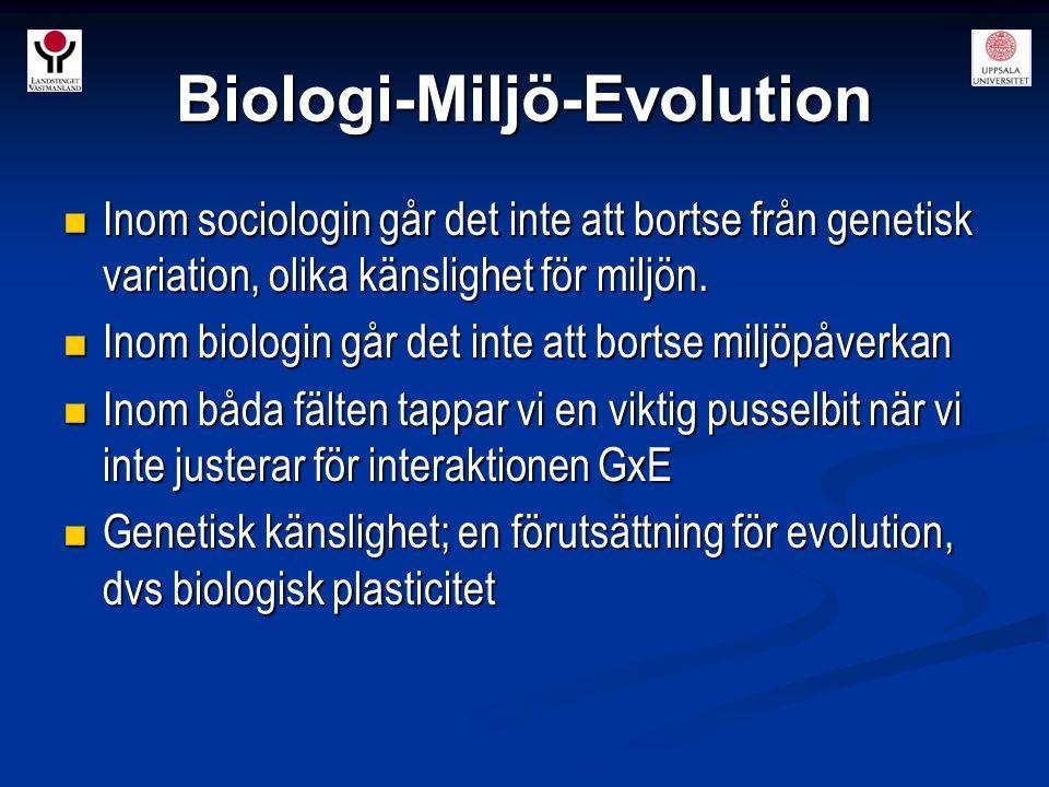 Biologi-Miljö-Evolution Inom sociologin går det inte att bortse från genetisk variation, olika känslighet för miljön. Inom sociologin går det inte att