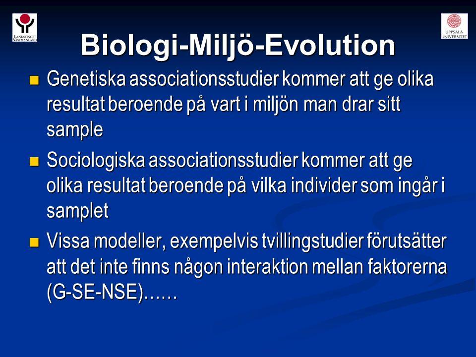 Biologi-Miljö-Evolution Genetiska associationsstudier kommer att ge olika resultat beroende på vart i miljön man drar sitt sample Genetiska associatio