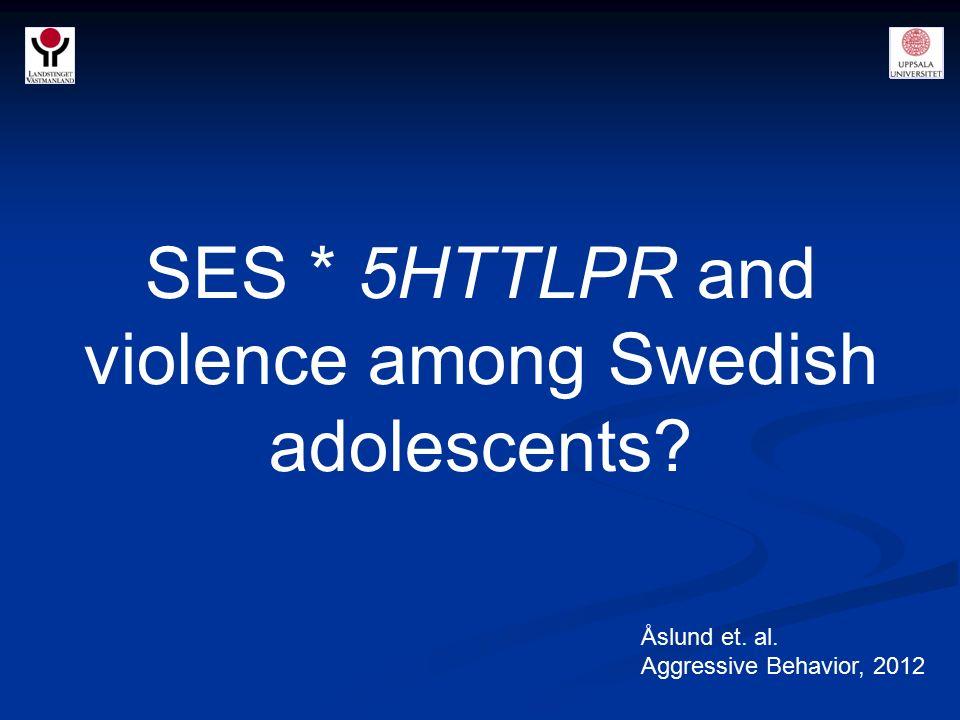 SES * 5HTTLPR and violence among Swedish adolescents? Åslund et. al. Aggressive Behavior, 2012