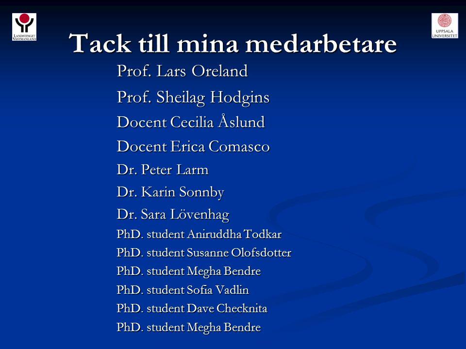 Tack till mina medarbetare Prof. Lars Oreland Prof. Sheilag Hodgins Docent Cecilia Åslund Docent Erica Comasco Dr. Peter Larm Dr. Karin Sonnby Dr. Sar
