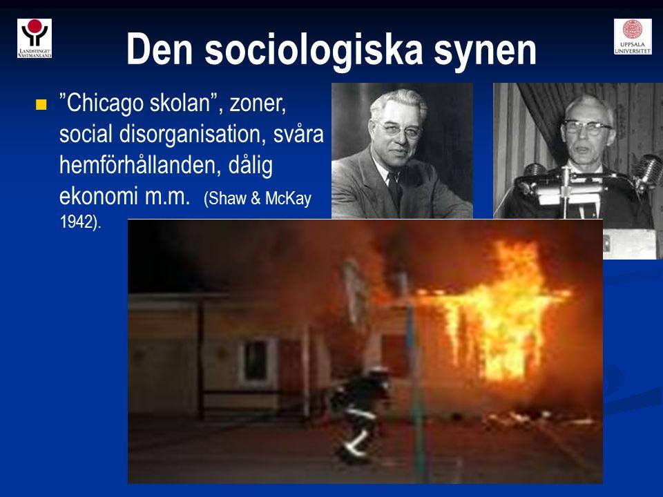 """""""Chicago skolan"""", zoner, social disorganisation, svåra hemförhållanden, dålig ekonomi m.m. (Shaw & McKay 1942). Den sociologiska synen Shaw & McKay"""