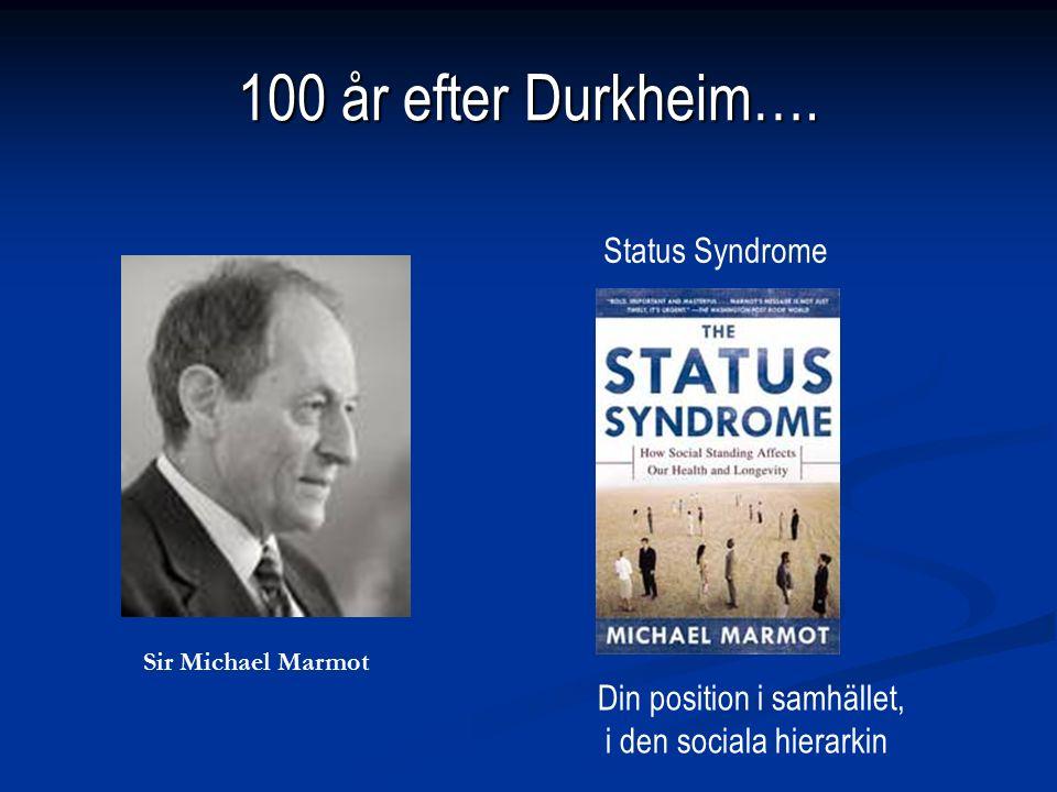 100 år efter Durkheim…. Sir Michael Marmot Status Syndrome Din position i samhället, i den sociala hierarkin