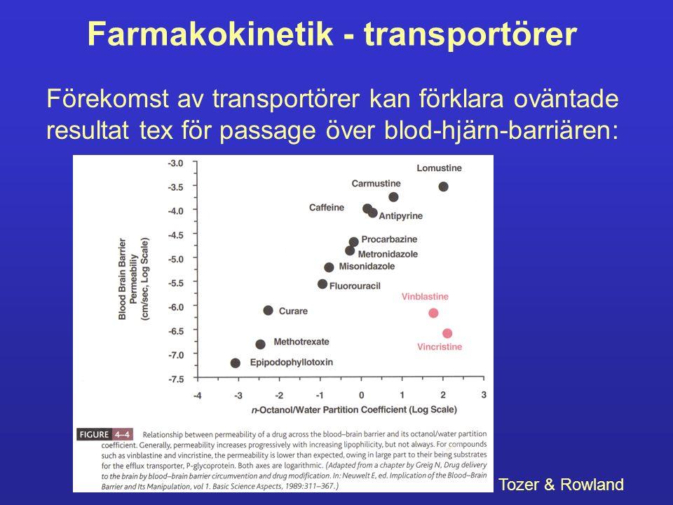 Farmakokinetik - transportörer Förekomst av transportörer kan förklara oväntade resultat tex för passage över blod-hjärn-barriären: Tozer & Rowland