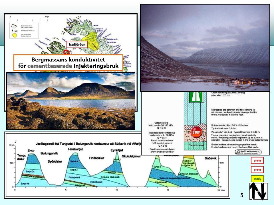 Vatteninflöde Vatteninflöde från isländsk bergmassa: - Ólafsfjördur Tunnel ready 6 Vattentryck ~ 30 bar Vattenflöde ~ 50 l/s/hål Vattentemperatur ung.
