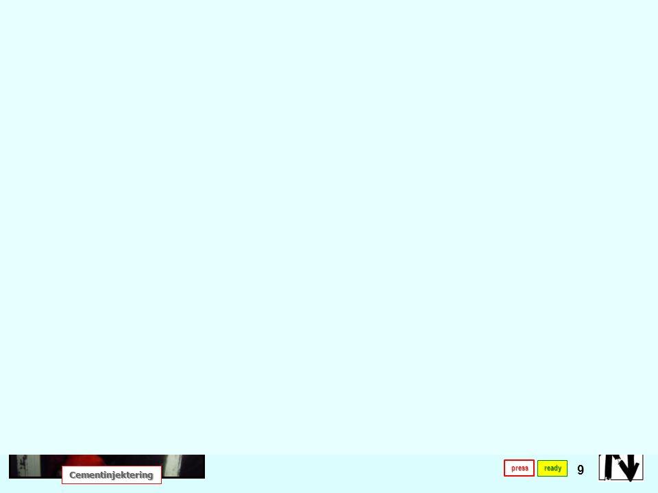 låg temperatur Lämplig i låg temperatur 10 ready Egenskaper för olika injekteringsmedel Reaktivitet med vatten Reaktivitet med vatten Reaktionstid Reaktionstid Skumegenskaper Skumegenskaper Tryckhållfasthet[MPa] Bortspolning under bindetiden Bortspolning under bindetiden presspresspress