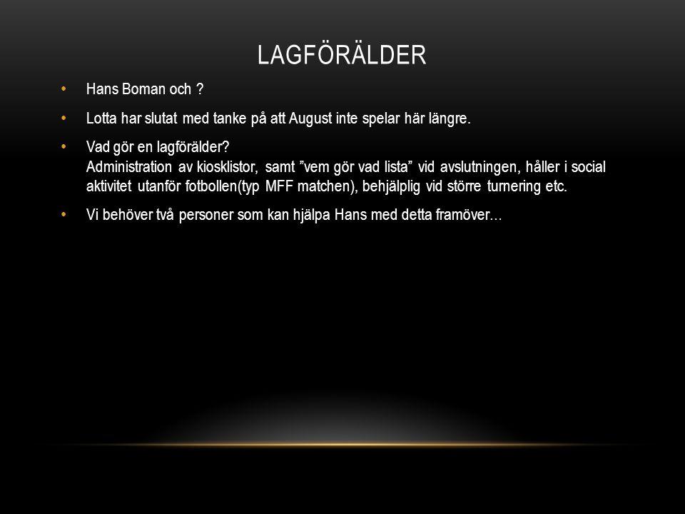 LAGFÖRÄLDER Hans Boman och . Lotta har slutat med tanke på att August inte spelar här längre.