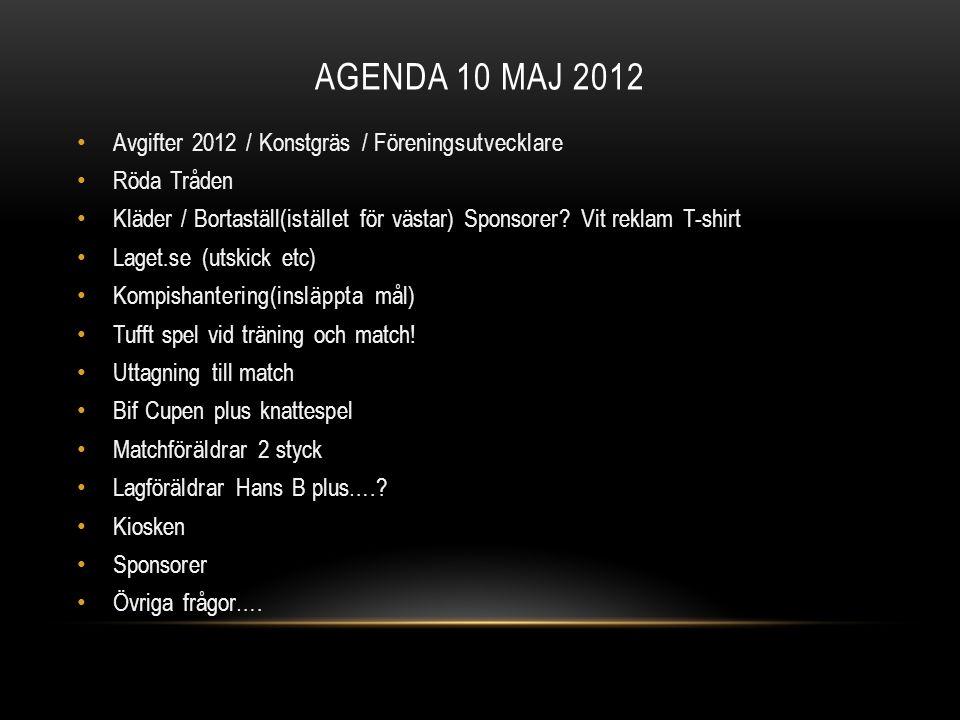 AGENDA 10 MAJ 2012 Avgifter 2012 / Konstgräs / Föreningsutvecklare Röda Tråden Kläder / Bortaställ(istället för västar) Sponsorer? Vit reklam T-shirt