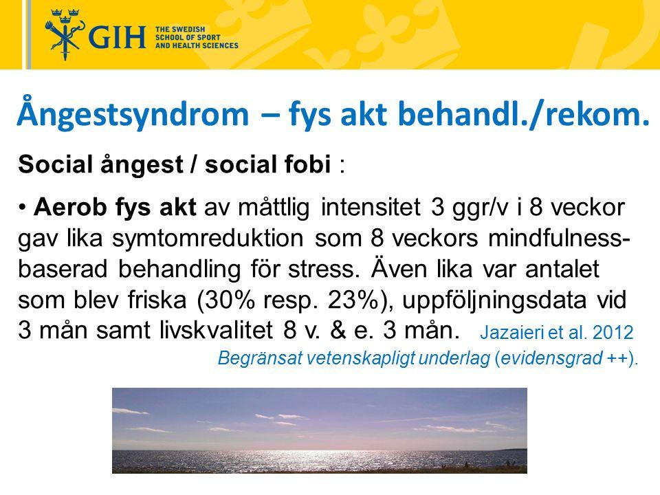 Ångestsyndrom – fys akt behandl./rekom. Social ångest / social fobi : Aerob fys akt av måttlig intensitet 3 ggr/v i 8 veckor gav lika symtomreduktion