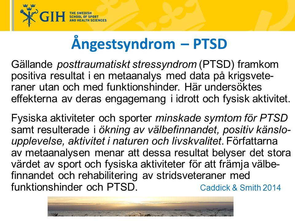 Gällande posttraumatiskt stressyndrom (PTSD) framkom positiva resultat i en metaanalys med data på krigsvete- raner utan och med funktionshinder.