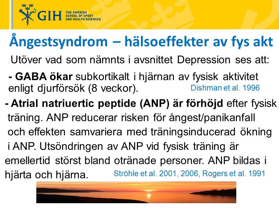 Ångestsyndrom – hälsoeffekter av fys akt - GABA ökar subkortikalt i hjärnan av fysisk aktivitet enligt djurförsök (8 veckor).