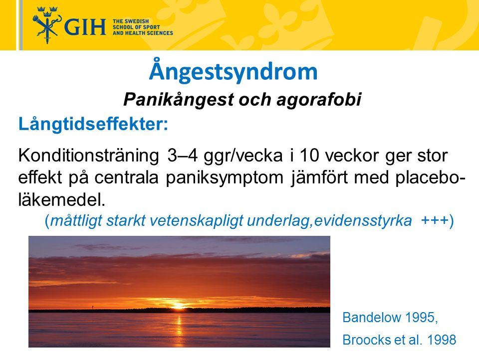 Ångestsyndrom Panikångest och agorafobi Långtidseffekter: Konditionsträning 3–4 ggr/vecka i 10 veckor ger stor effekt på centrala paniksymptom jämfört med placebo- läkemedel.
