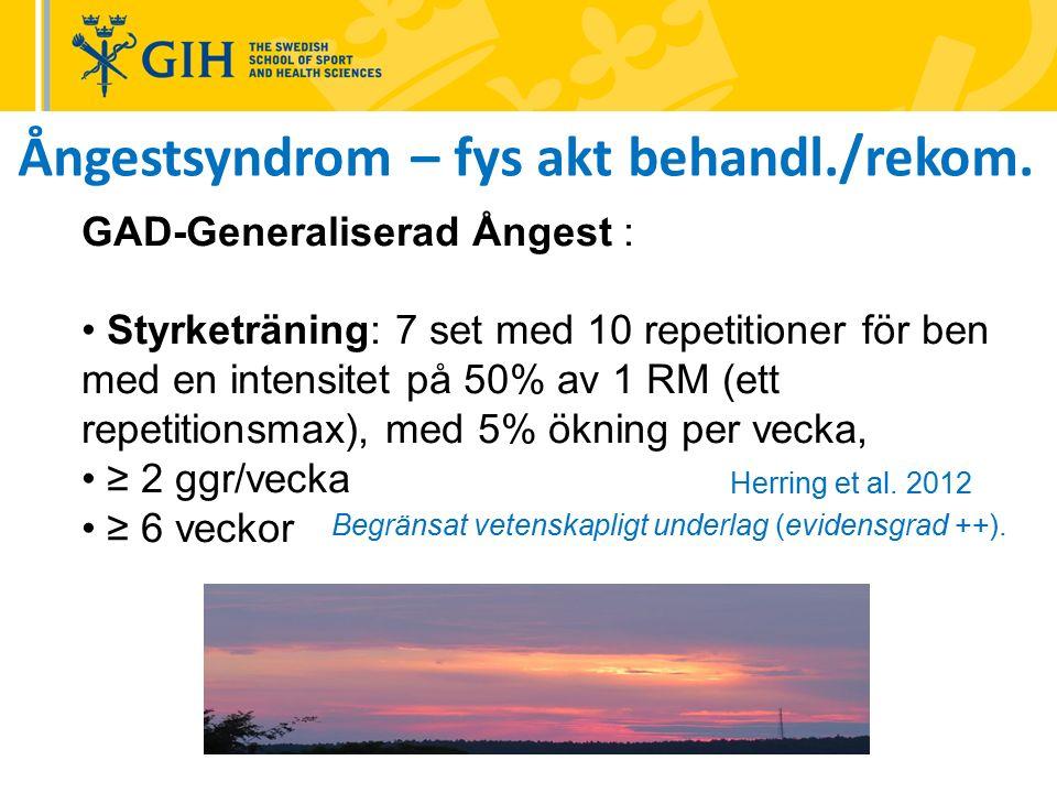 GAD-Generaliserad Ångest : Styrketräning: 7 set med 10 repetitioner för ben med en intensitet på 50% av 1 RM (ett repetitionsmax), med 5% ökning per vecka, ≥ 2 ggr/vecka ≥ 6 veckor Begränsat vetenskapligt underlag (evidensgrad ++).
