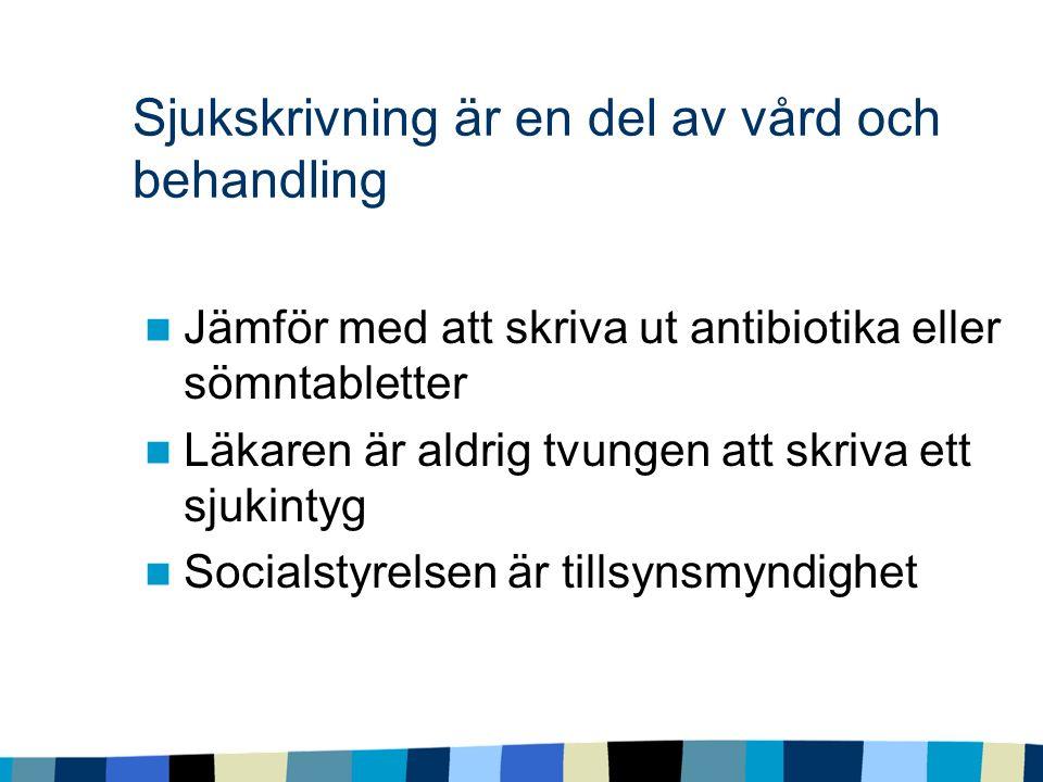 Sjukskrivning är en del av vård och behandling Jämför med att skriva ut antibiotika eller sömntabletter Läkaren är aldrig tvungen att skriva ett sjukintyg Socialstyrelsen är tillsynsmyndighet