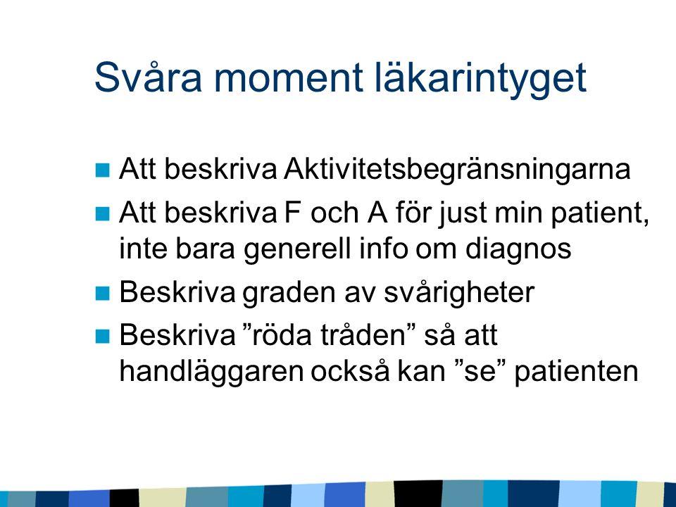 Svåra moment läkarintyget Att beskriva Aktivitetsbegränsningarna Att beskriva F och A för just min patient, inte bara generell info om diagnos Beskriva graden av svårigheter Beskriva röda tråden så att handläggaren också kan se patienten