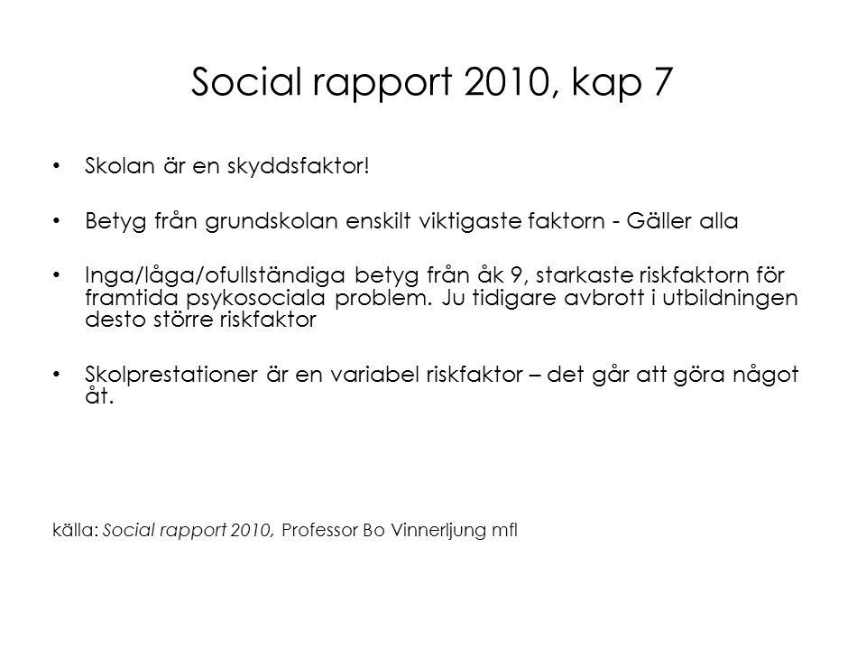 Social rapport 2010, kap 7 Skolan är en skyddsfaktor.
