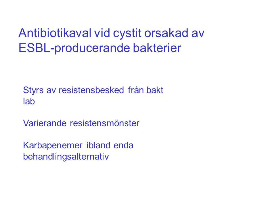 Antibiotikaval vid cystit orsakad av ESBL-producerande bakterier Styrs av resistensbesked från bakt lab Varierande resistensmönster Karbapenemer iblan