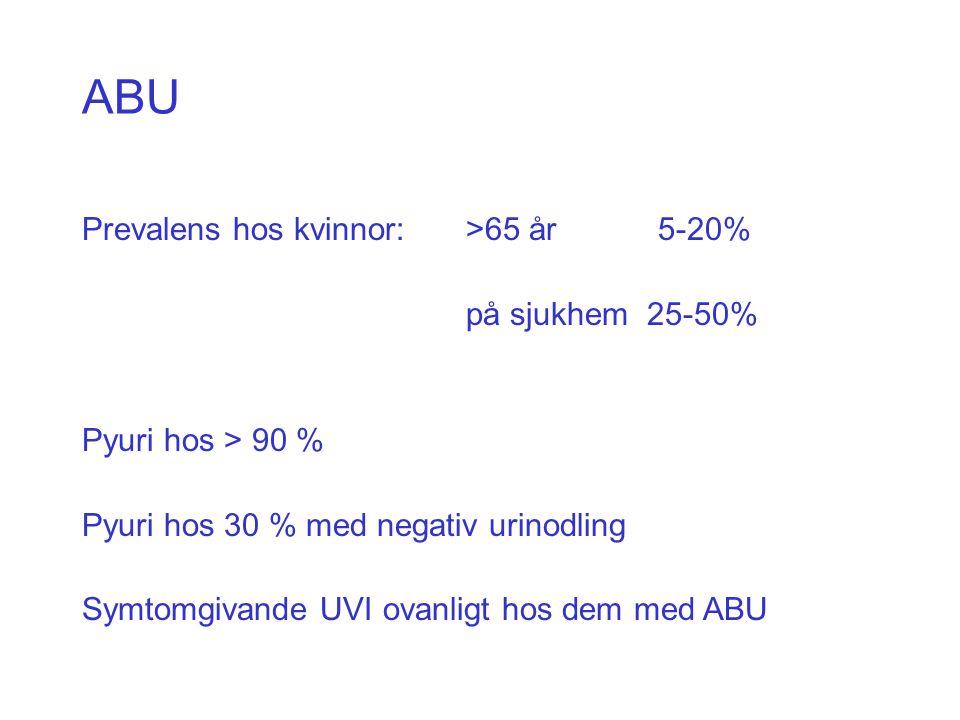 ABU Prevalens hos kvinnor: >65 år5-20% på sjukhem 25-50% Pyuri hos > 90 % Pyuri hos 30 % med negativ urinodling Symtomgivande UVI ovanligt hos dem med